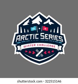 Arctic sports winter competition graphic design logo emblem