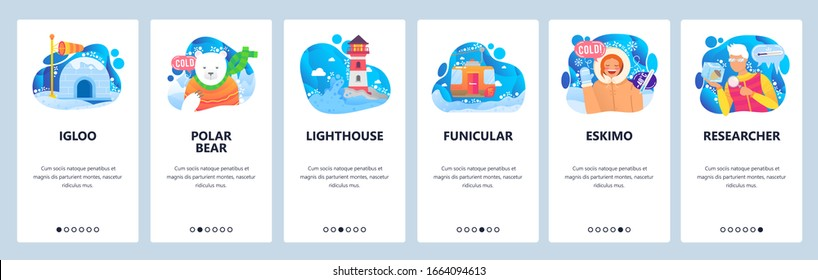 Arctica and Antarctica icons. Polar bear, winter snow and ice, igloo, eskimo, inuit girl. Mobile app screens. Vector banner template for website mobile development. Web site design illustration.