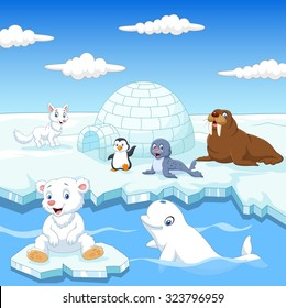 Arctics animals collection set with igloo ice house