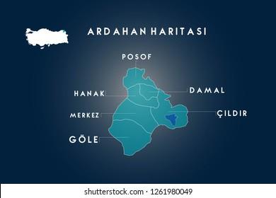 Ardahan districts Posof, Hanak, Damal, Cildir, Gole map, Turkey