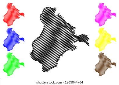 Ardahan (Provinces of the Republic of Turkey) map vector illustration, scribble sketch Ardahan ili map