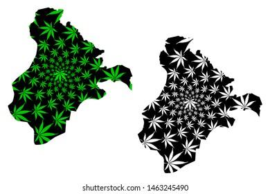 Ardahan (Provinces of the Republic of Turkey) map is designed cannabis leaf green and black, Ardahan ili map made of marijuana (marihuana,THC) foliage,