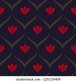 Ardent red tulips on violet floral arc pattern. Simple geometric all over motif. Print block for fabric cloth, interior textile. Retro seamless ornament. Folk flowers and leaves vector minimal design.