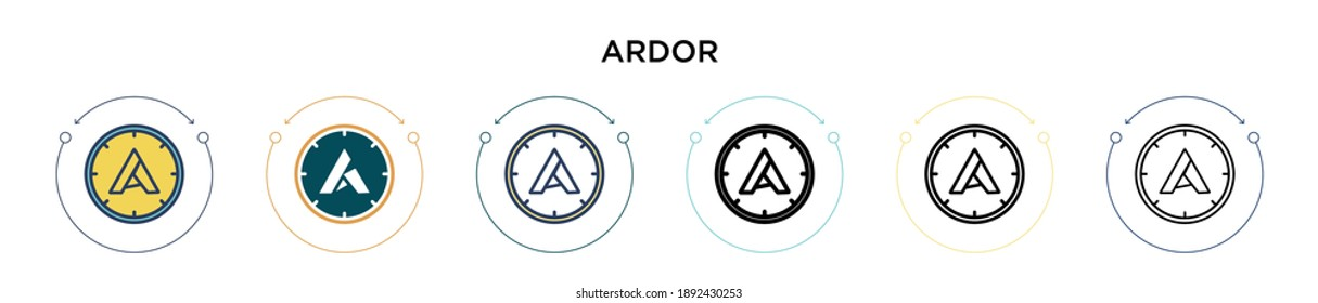 Ardor icon in filled, thin line, outline and stroke style. Vector illustration of two colored and black ardor vector icons designs can be used for mobile, ui, web