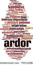 Ardor word cloud concept. Vector illustration
