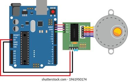 arduino interfacing with stepper motor flat design illustration