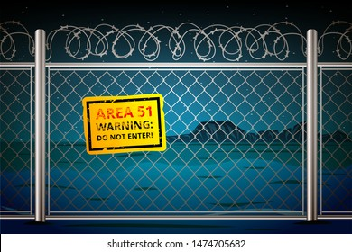 Area 51 among the night canyon in Nevada behind barbed wire with a sign of danger not to enter. Vector illustration in cartoon style.