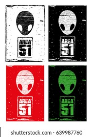 Area 51 sign with alien head vector illustration.