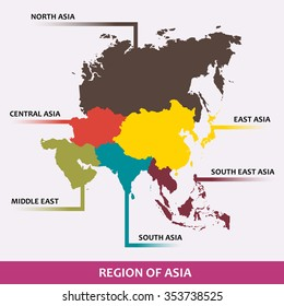 Area of each asian region classify by color. (EPS10 Art vector separate part by part)