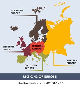 Area of each european region classify by color.(EPS10 Art vector separate part by part)