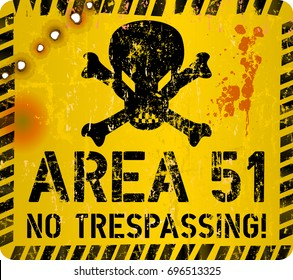Area fifty one sign.Web icon, restricted area sign Grungy vector illustration