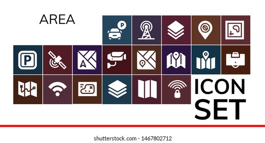 area icon set. 19 filled area icons.  Collection Of - Parking, Map, Wifi signal, Layers, Signal, Surveillance, Area, Layer