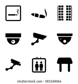 area icons set. Set of 9 area filled icons such as elevator, smoking area, plane seats, table, security camera, Security camera