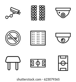Area icons set. set of 9 area outline icons such as no smoking, plane seats, field, table, security camera, Security camera