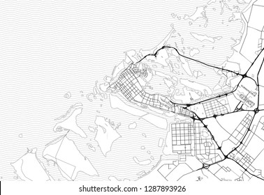 Area map of Abu Dhabi, United Arab Emirates. This artmap of Abu Dhabi contains geography lines for land mass, water, major and minor roads.