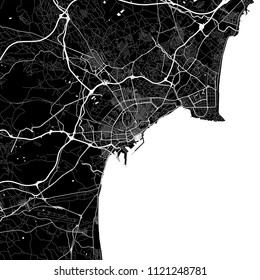 Area map of Alicante, Spain. Dark background version for infographic and marketing projects. This map of Alicante contains typical landmarks with streets, waterways and railways