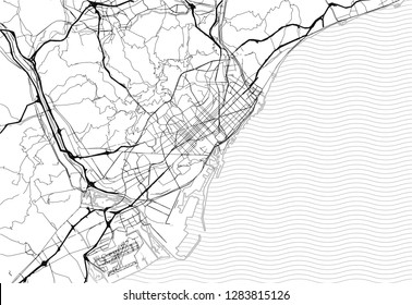 Area map of Barcelona, Spain. This artmap of Barcelona contains geography lines for land mass, water, major and minor roads.