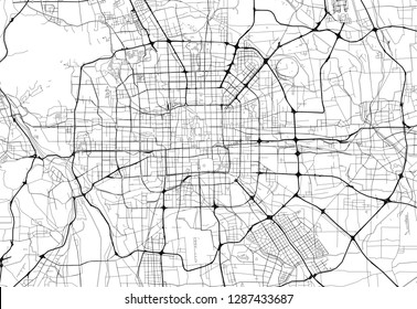 Area map of Beijing, China. This artmap of Beijing contains geography lines for land mass, water, major and minor roads.