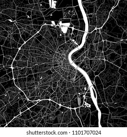 Area map of Bordeaux, France. Dark background version for infographic and marketing projects. This map of Bordeaux, Gironde, contains typical landmarks with streets, waterways and railways.