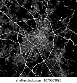 Area map of Campinas, Brazil. Dark background version for infographic and marketing projects. This map of Campinas,  São Paulo, contains typical landmarks with streets, waterways and railways