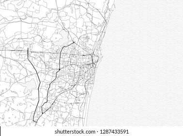 Area map of Chennai, India. This artmap of Chennai contains geography lines for land mass, water, major and minor roads.