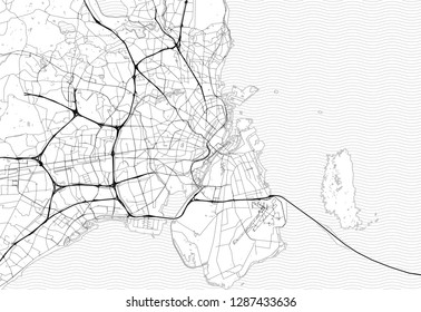 Area map of Copenhagen, Denmark. This artmap of Copenhagen contains geography lines for land mass, water, major and minor roads.
