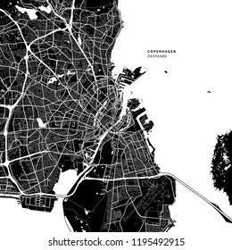 Area map of Copenhagen, Denmark with typical urban landmarks like buildings, roads, waterways and railways as well as smaller streets and park trails. Removable city label placed on top.