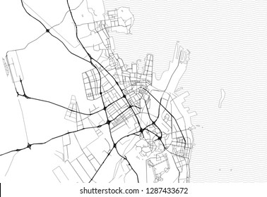 Area map of Dammam City, Saudi Arabia. This artmap of Dammam City contains geography lines for land mass, water, major and minor roads.