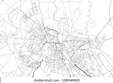 Area map of Delhi, India. This artmap of Delhi contains geography lines for land mass, water, major and minor roads.