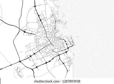 Area map of Doha, Qatar. This artmap of Doha contains geography lines for land mass, water, major and minor roads.