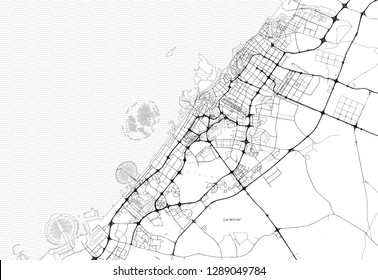 Area map of Dubai, United Arab Emirates. This artmap of Dubai contains geography lines for land mass, water, major and minor roads.