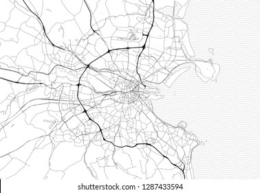 Area map of Dublin, Ireland. This artmap of Dublin contains geography lines for land mass, water, major and minor roads.