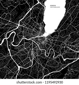 Area map of Geneva, Switzerland with typical urban landmarks like buildings, roads, waterways and railways as well as smaller streets and park trails. Removable city label placed on top.