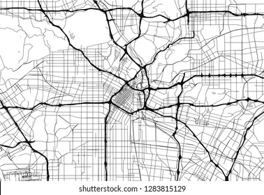 Area map of Los Angeles, United States. This artmap of Los Angeles contains geography lines for land mass, water, major and minor roads.