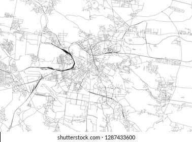 Area map of Lviv, Ukraine. This artmap of Lviv contains geography lines for land mass, water, major and minor roads.