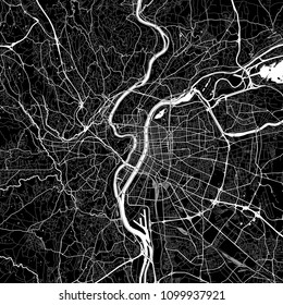Area map of Lyon, France. Dark background version for infographic and marketing projects. This map of Lyon, Rhône, contains typical landmarks with streets, waterways and railways.