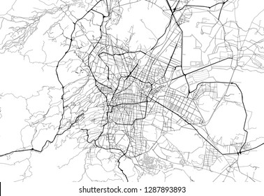 Area map of Mexico City, Mexico. This artmap of Mexico City contains geography lines for land mass, water, major and minor roads.