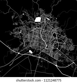Area map of León, Mexico. Dark background version for infographic and marketing projects. This map of León contains typical landmarks with streets, waterways and railways