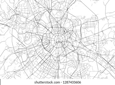 Area map of Moscow, Russia. This artmap of Moscow contains geography lines for land mass, water, major and minor roads.