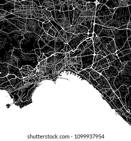 Area map of Naples, Italy. Dark background version for infographic and marketing projects. This map of Naples, Campania, contains typical landmarks with streets, waterways and railways.