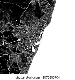 Area map of Recife, Brazil. Dark background version for infographic and marketing projects. This map of Recife,  Pernambuco, contains typical landmarks with streets, waterways and railways