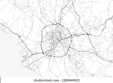 Area map of Rome, Italy. This artmap of Rome contains geography lines for land mass, water, major and minor roads.