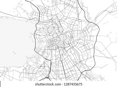 Area map of St. Petersburg, Russia. This artmap of St. Petersburg contains geography lines for land mass, water, major and minor roads.