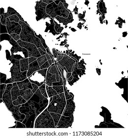 Area map of Stavanger, Norway. Dark background version for infographic and marketing projects.