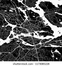 Area map of Stockholm, Sweden. Dark background version for infographic and marketing projects.