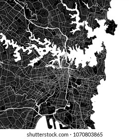 Area map of Sydney, Australia. Dark background version for infographic and marketing projects. This map of Sydney, New South Wales, contains typical landmarks.