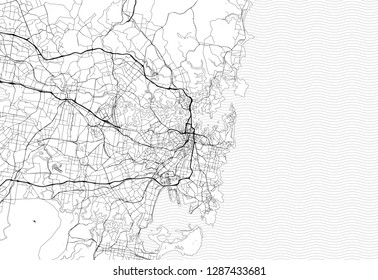 Area map of Sydney, Australia. This artmap of Sydney contains geography lines for land mass, water, major and minor roads.