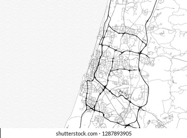 Area map of Tel Aviv, Israel. This artmap of Tel Aviv contains geography lines for land mass, water, major and minor roads.