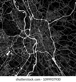 Area map of Toulouse, France. Dark background version for infographic and marketing projects. This map of Toulouse, Haute-Garonne, contains typical landmarks with streets, waterways and railways.