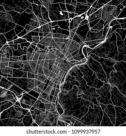 Area map of Turin, Italy. Dark background version for infographic and marketing projects. This map of Turin, Piedmont, contains typical landmarks with streets, waterways and railways.